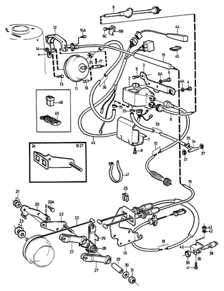 Volvo / Volvo 240/Volvo 260 / Engine throttle linkage / Gas throttle  linkage / Cruise Control B19/B21/B27E/F K-jet   Volvo Cruise Control Diagram      VP Auto Parts